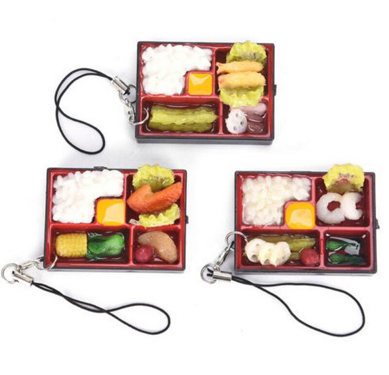 Cute Simulation Sushi Key Chain Keyring Fake Japanese Food Box Lanyard  Keychain Handbag Pendant Lanyard Key Ring Funny Toys