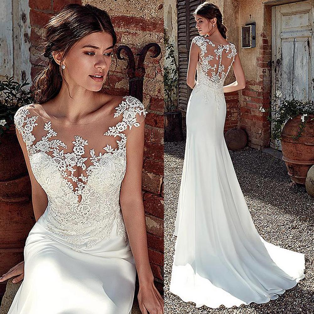 5c56a9017e5e0 Modest Soft Satin Bateau Neckline Mermaid Wedding Dresses With Lace  Appliques Sheer Bridal Dress Illusion Back