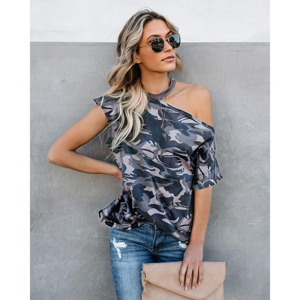a3ed3d044d2b3e 2019 Women Ladies Summer Short Sleeve Camouflage Tees Loose Casual T ...
