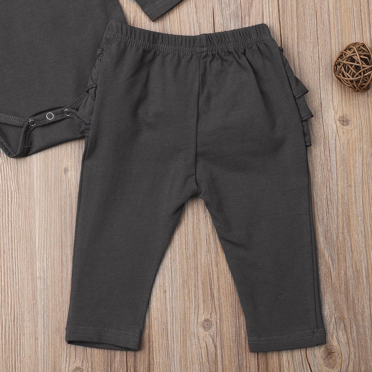 Printemps solide nourrisson enfant bébé fille Vêtements Ruches Hauts Pantalons Romper longues Set Outfit