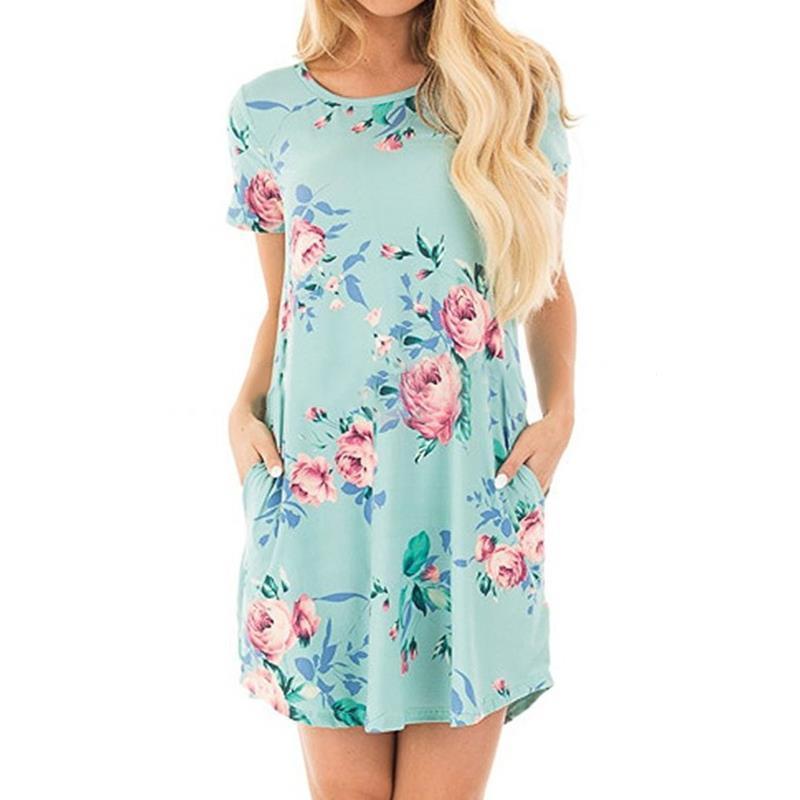 699b8fa6a7 Compre Las Mujeres Frescas Elegante Vestido De La Señora Del Verano Vestidos  De La Camiseta Del O Cuello De La Impresión Floral Bolsillos Femeninos ...