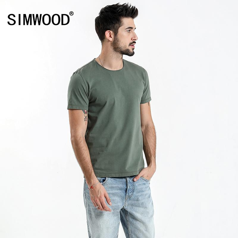 494a6efdc90 Simwood 2019 Summer New Raw Crew Neckline T Shirt Men Slim Fit ...