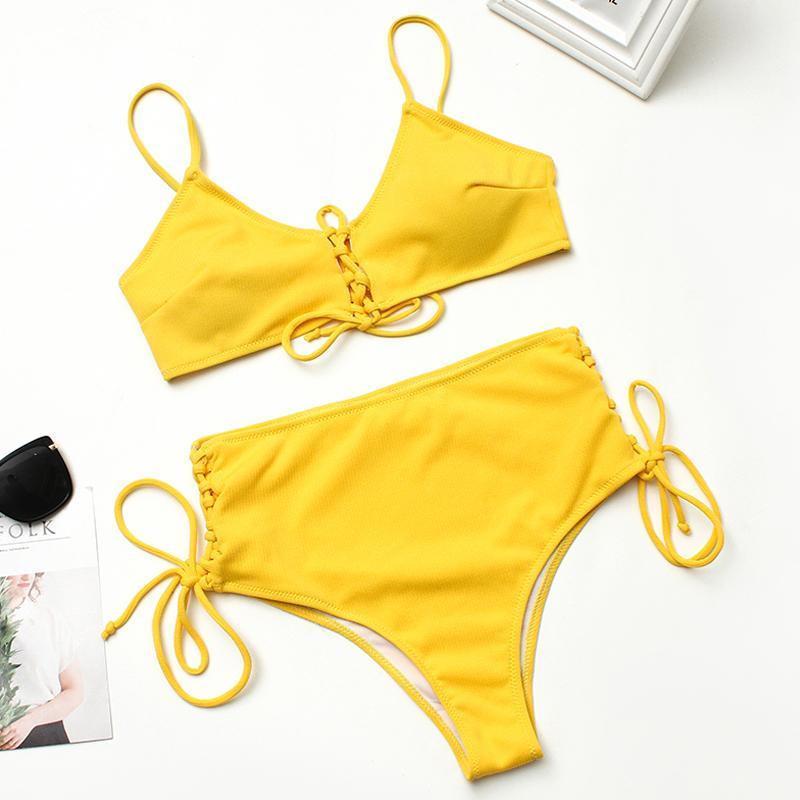 4ed9465b6379 2 piezas sexy traje de baño Bikinis 2019 Mujer traje de baño de las mujeres  de talle alto trajes de baño Monokini vendaje Bikini Biquinis Feminino
