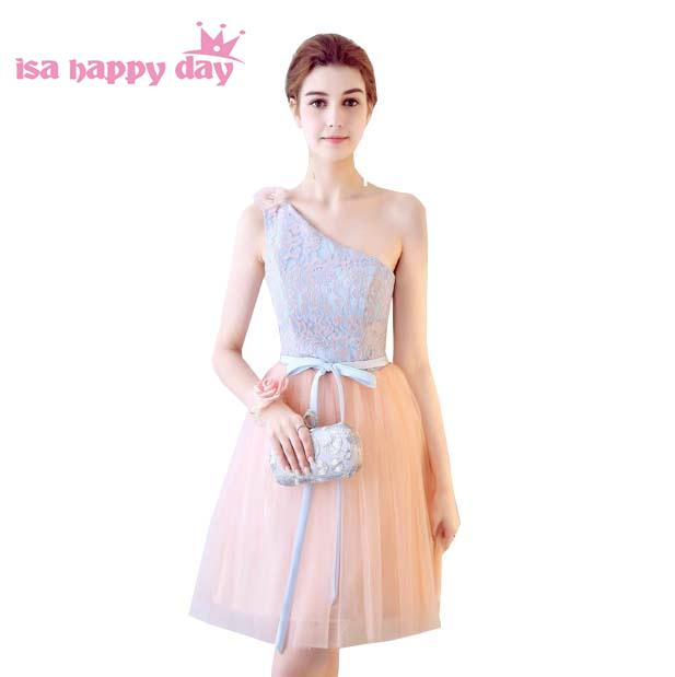 2019 new fashion girls one shoulder flower lace tulle ball gown dress peach bridesmaid short bridemaids formal dresses