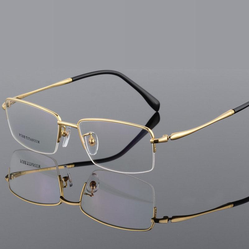 15a5893b19 2019 100% Pure Titanium Half Rim Brand Eyeglasses Men Optical Spectacle  Frame Eye Prescription Glasses Big Face Eyeglasses Quality From Ericgordon