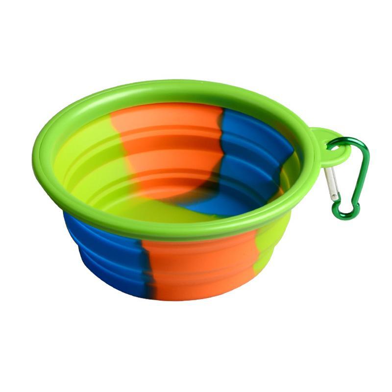 Camuflagem Tigela Pet Dobrável de Silicone Dobrável Filhote de Cachorro Tigela Com Mosquetão Portátil Pet Dog Bowl Para Viagem Ao Ar Livre de Alimentação de Água