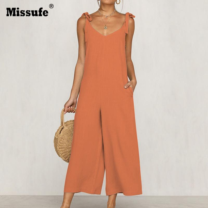 0b52dbede57 2019 Missufe Off Shoulder V Neck Playsuit Backless Bow Tie Rompers Pocket  Summer Loose Overalls For Women Bandage With Belt Jumpsuit From Weikelai