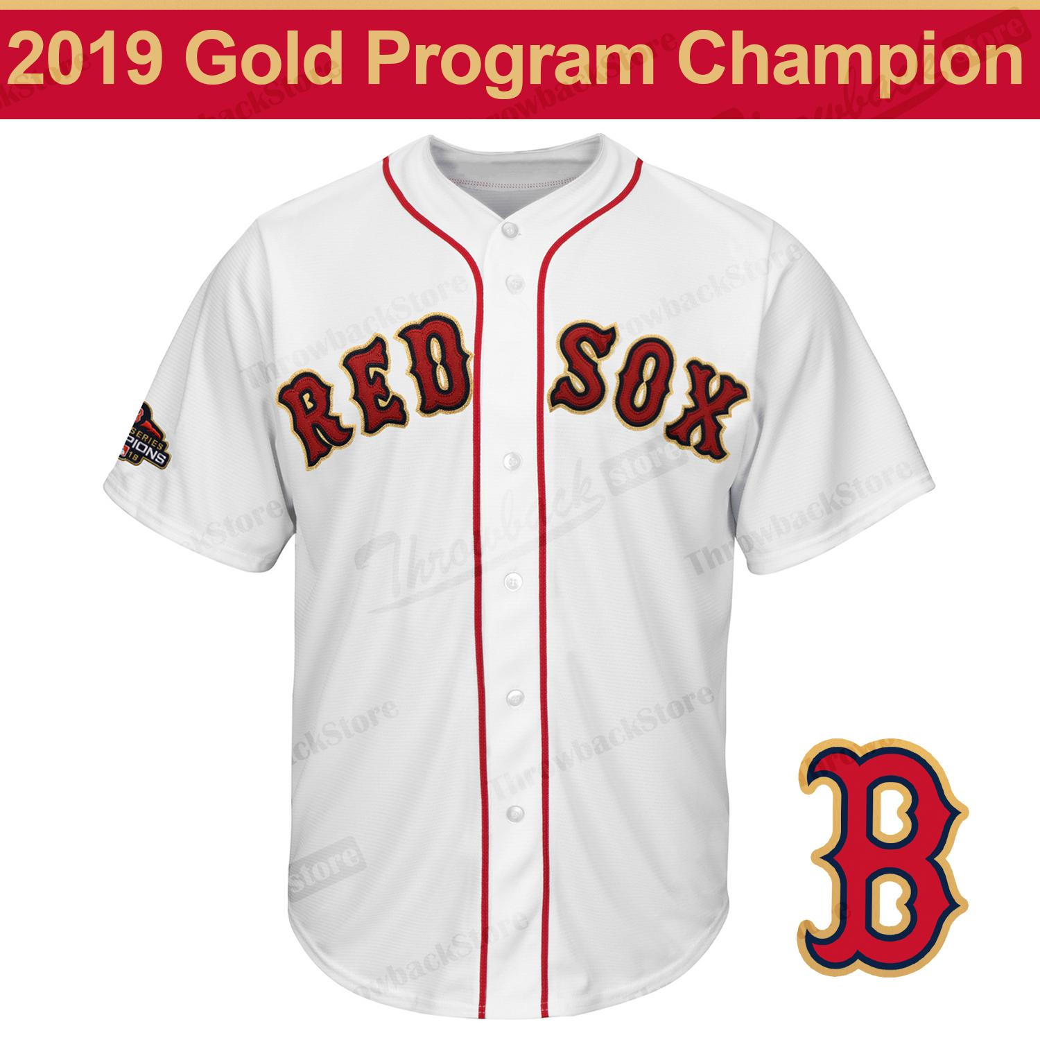 new arrival 79894 3004c Boston 2019 Gold Program Red Sox Mookie Betts J.D. Martinez Andrew  Benintendi Chris Sale 2018 Champion Cool Base Player Jersey White