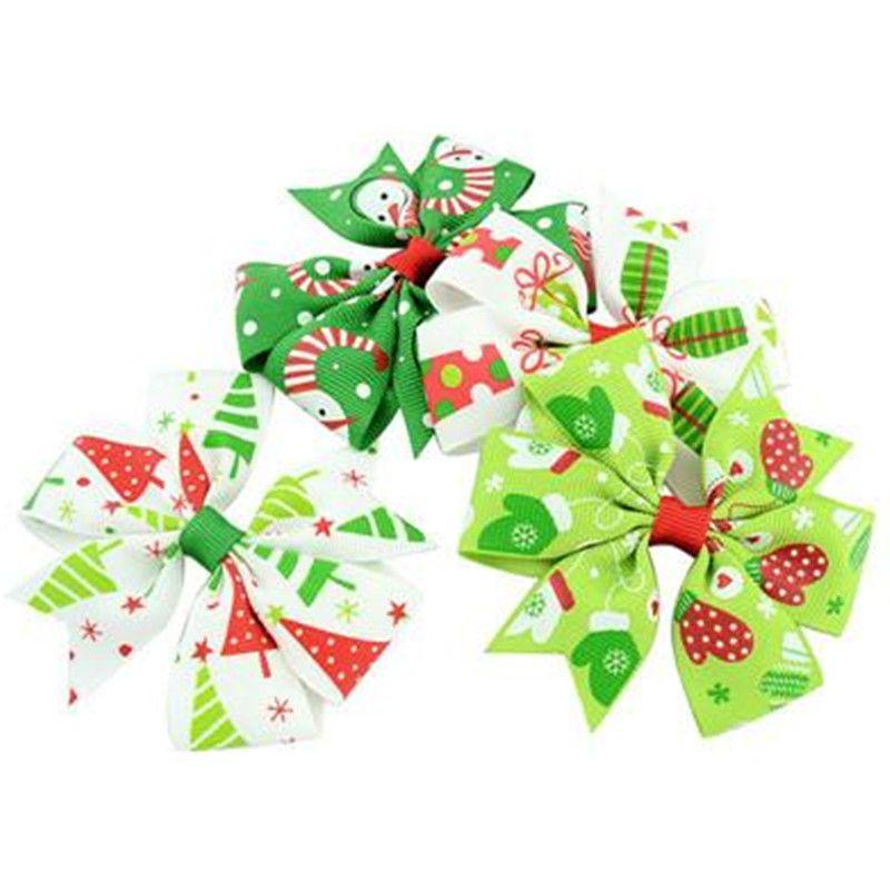 Клип ребёнки Сива Лук волоса Grosgrain Ribbon Hairclip Дети Barrettes Bowknot Шпилька DIY волосы Аксессуар рождественские подарки 12 цветов