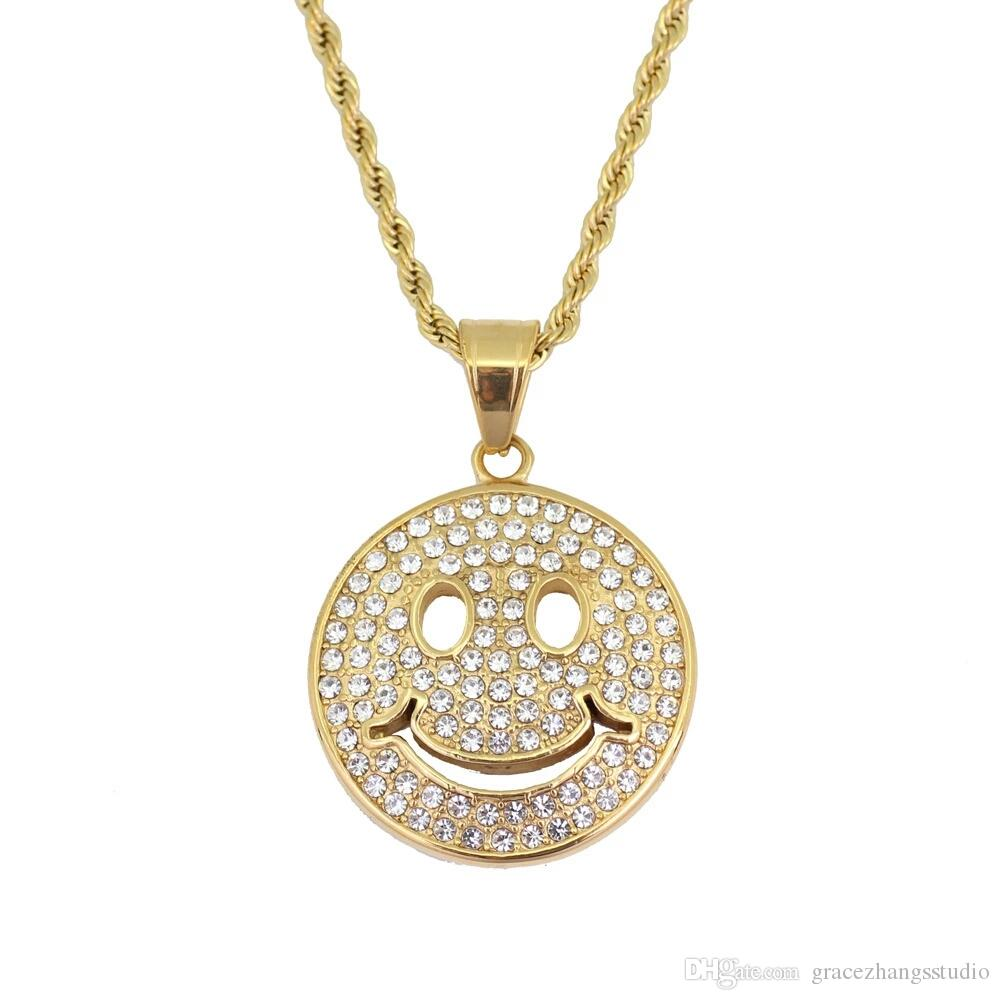 hip hop emoji diamonds pendant necklaces for men women western smile face  luxury necklace Stainless steel Cuban chains jewelry free shipping