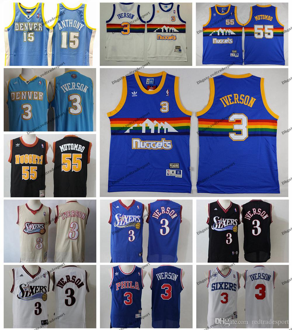 huge discount 69c9d 8e72b Vintage Mens #3 Denver Iverson Nuggets Carmelo Anthony 15 Dikembe Mutombo  #55 Allen Iverson Basketball Jersey Stitched Shirts S-XXL