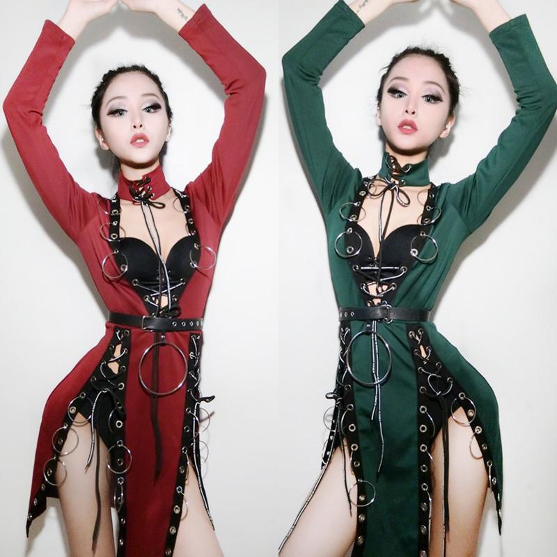 Compre 2018 Red Jazz Trajes De Baile Para Dama Mujeres Bar Dj Bailarines  Visten Escenario Hip Hop Ropa Sexy Show Más Nuevo Vestido De Cantante I319  ... e9948b135c5
