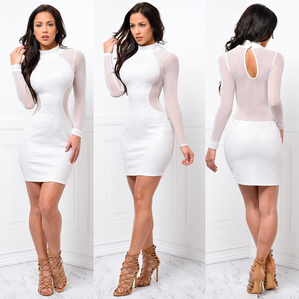 412eec21939 2019 Summer Foreign Trade New European And American Sexy Mesh Bandage Dress  Long Sleeved Slim Nightclub Dress Dressing Styles For Women Party Dresses  ...
