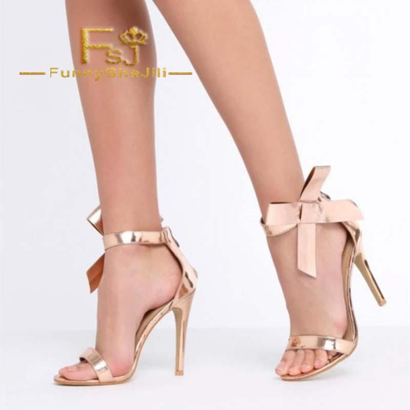 d1f4bbb0e809 Rose Gold Side Bow Heels Open Toe Ankle Strap Stiletto Heel Sandals  Incomparable Generous Attractive Fashion Noble Sexy FSJ Sandals For Women  Knee High ...