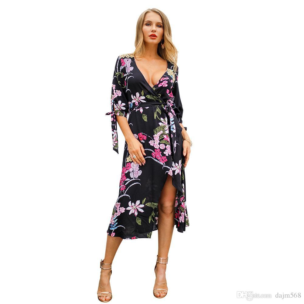 e20ecb82 Women Designer Maxi Dresses Clothes Dresses Sexy Short Dress Women  Jumpsuits Rompers Spring And Summer New Print Sleeves V Neck Dress Black Dress  Womens ...