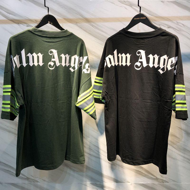 011352eadb1 Palm Angels Reflective Striped T Shirt Men Fashion Oversized Cotton Jersey  Tee New Hip Hop Streetwear Casual Sports Shirts CLI0415 Print On Tee Shirt  Go T ...