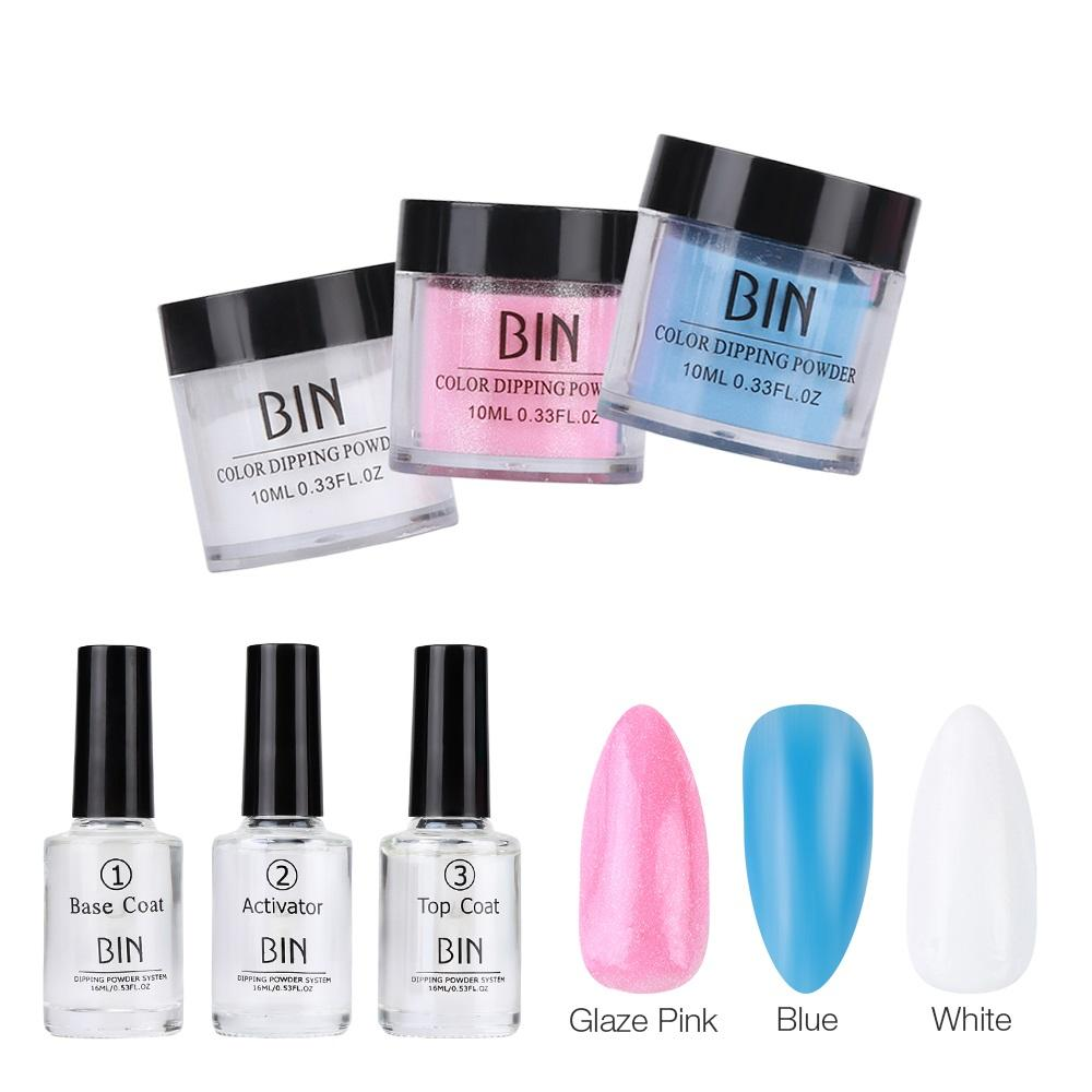 Nail Cheap scintillio 6Pcs / Box immersione Polvere base superiore kit cappotto Activator Dip Sistema No Light UV avuto bisogno di Fast Dry Powder Dip Nails