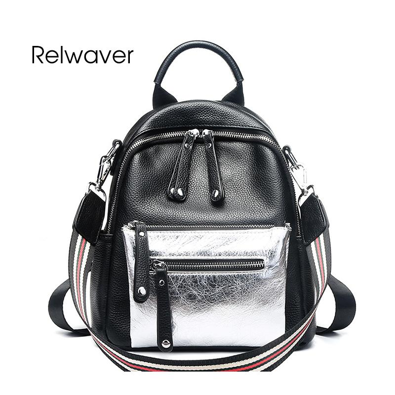 0aa5a88bd0f6 Relwaver Genuine Leather Backpack Black Contrast Silver Small School Bags  Fashion Chic Style Women Backpack Female Girl Travel Backpack Cute Backpacks  From ...