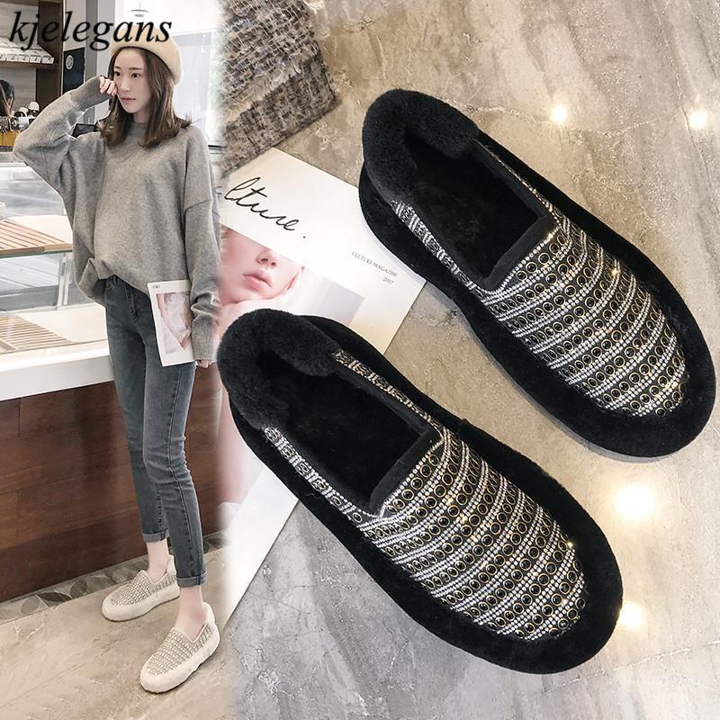 473522d22 Kjelegans 2018 Beads Crtstal White Black Simple Women Flats Fashion Winter  Comfortable Plush Warm Female Loafers Sapato Feminino Walking Shoes Flat  Shoes ...