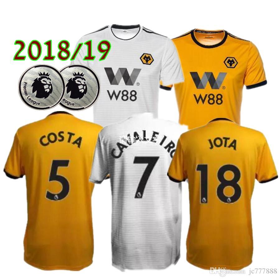 7d29eb2ac 2019 Wolverhampton Wanderers Soccer Jersey Home Yellow 7  CAVALEIRO 18   JOTA  5 BOLY  33 LEO 18 19 Away White Wolverhampton Football Shirts  Wolverhampton ...