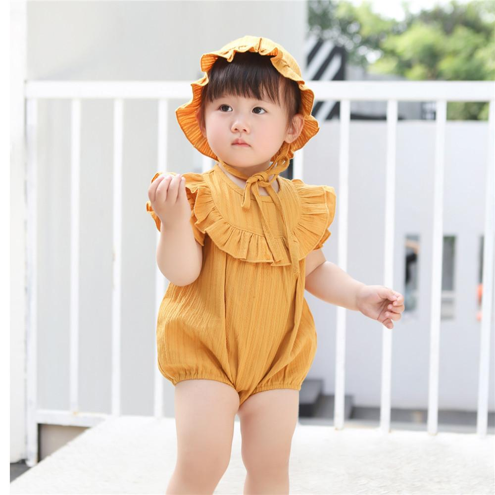 9537c4482190 2019 Fashion Summer Girl Set Romper Fly Sleeve Linen Cotton Infant Baby  Jumpsuit With Hat Suit For 0 1 Year Princess Ruffles From Superbest18