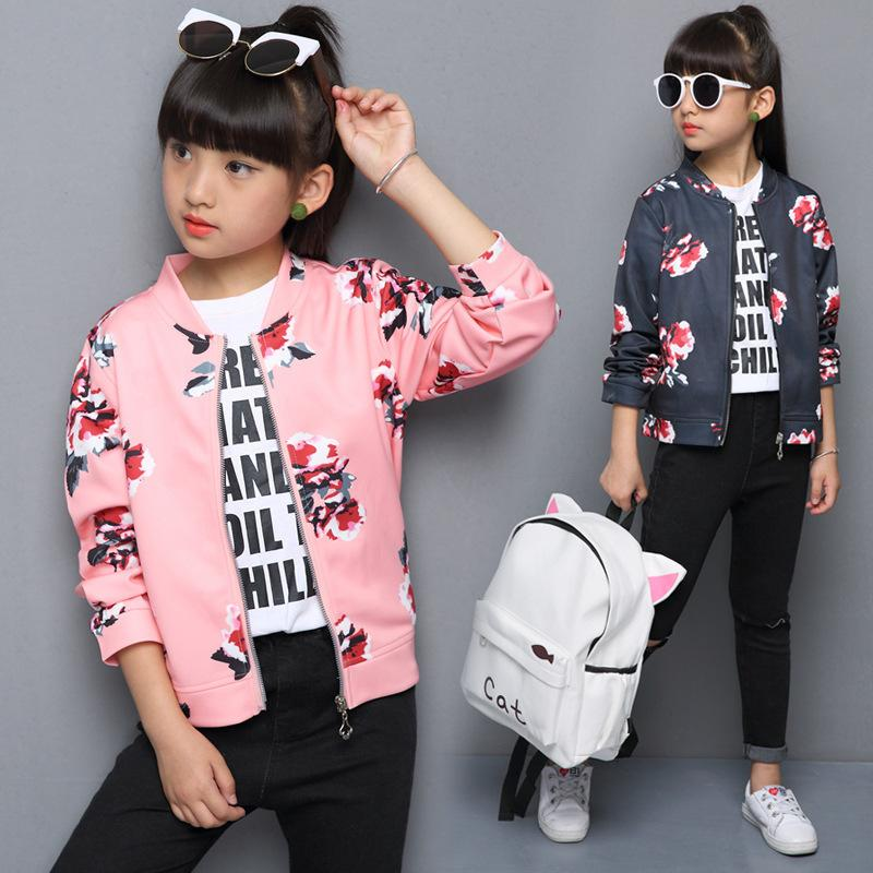 57994583ce2f Explosion Models Girls Clothing Jacket Spring  Autumn Peony Flowers ...