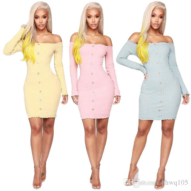 6cf1253f395 Women Off Shoulder Long Sleeve Mini Bodycon Dress Sexy Club Dresses Ribbed  Knitted Stretchy Sweater Dress Casual Dresses DYH1212 Backless Dresses Ball  ...