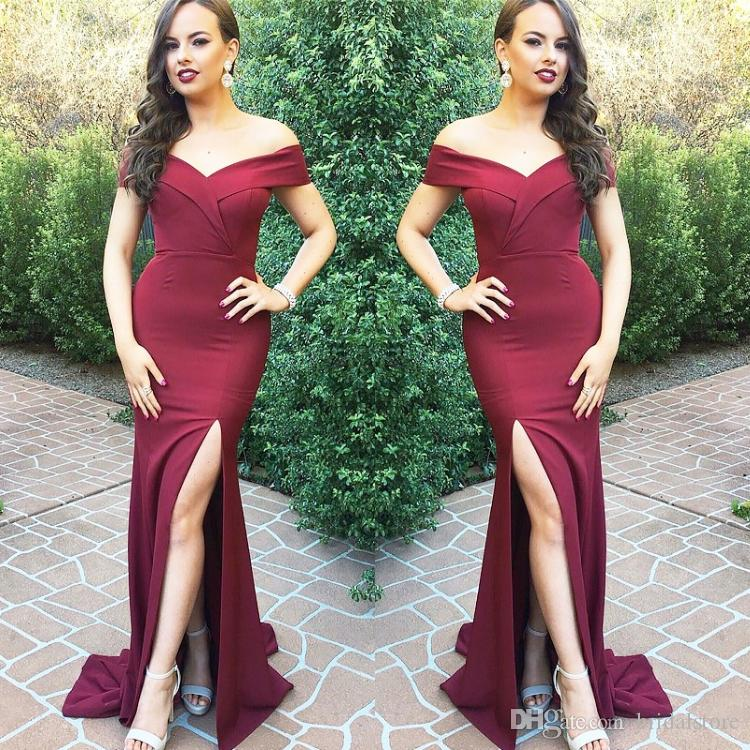 c24ea24325 Burgundy Off Shoulders Mermaid Prom Dresses Tight Front Slit Cutouts Sexy  Formal Evening Gowns Elegant Custom Size 12 16 Fashion Abaya 2019 Hi Low  Prom ...