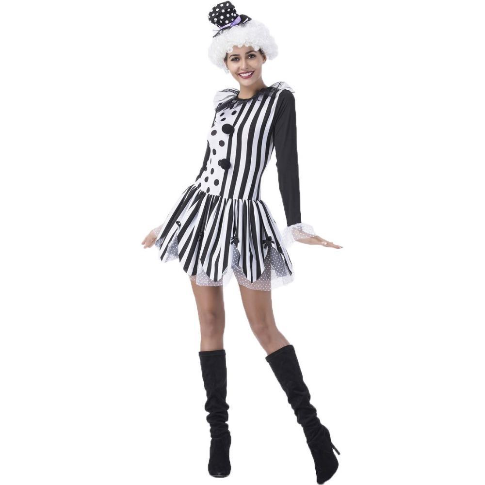 Compre Umorden Negro Blanco Dama Killer Payaso Disfraz Para Mujeres Niñas  Fiesta De Halloween Carnaval Fantasia Disfraces Vestido A  55.93 Del  Xiatian8 ... 31670717029