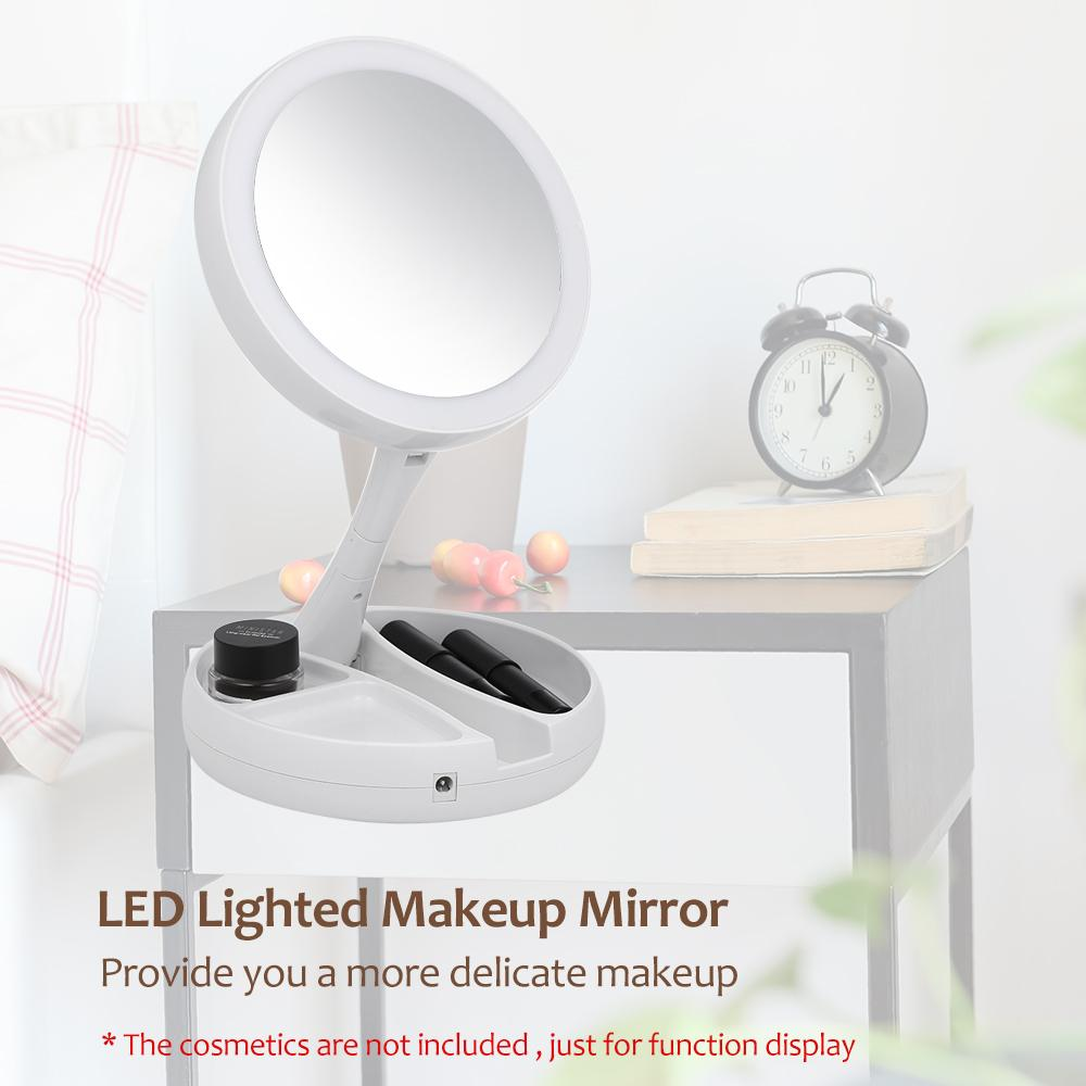 Lighted Makeup Mirror.Abody Mirror Led Lighted Makeup Mirror Adjustable Stand Desk Tri Fold With Storage Box Organizer 10x Magnifying Gifts