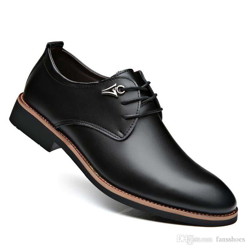 bf2a31572471 Luxury Brand Leather Concise Men Business Pointy Black Shoes Breathable  Formal Wedding Basic Shoes Men Dress Fashion new #7905