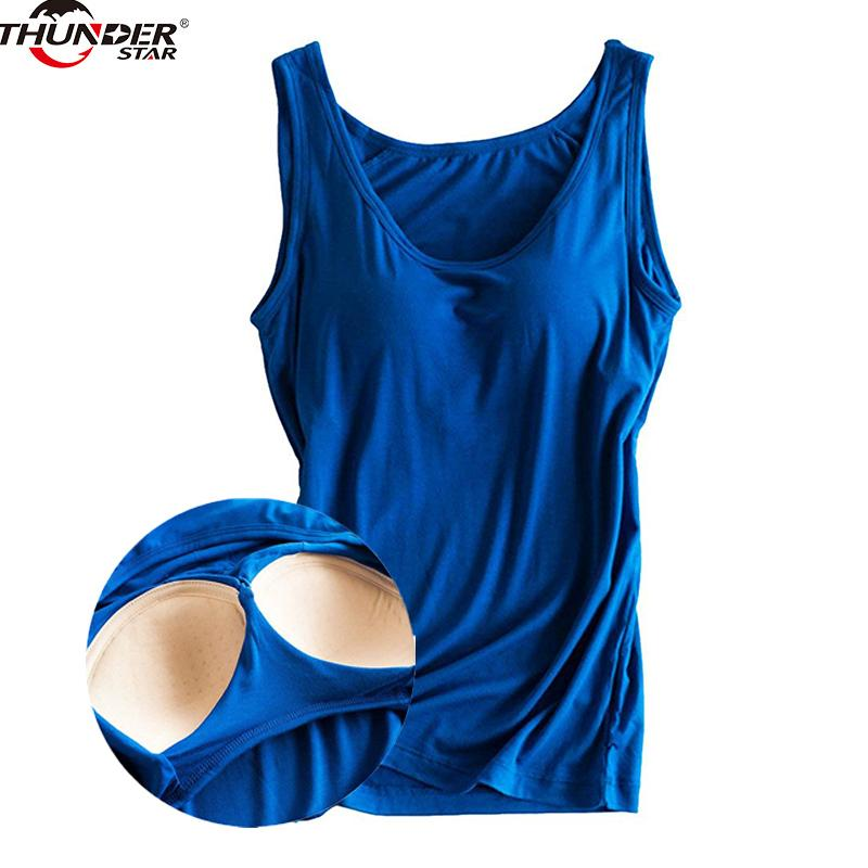 bb7efd315a4aa 2019 Women Built In Bra Padded Tank Top Female Modal Breathable Fitness Camisole  Tops Solid Push Up Bra Vest Blusas Femininas Y190123 From Tao01