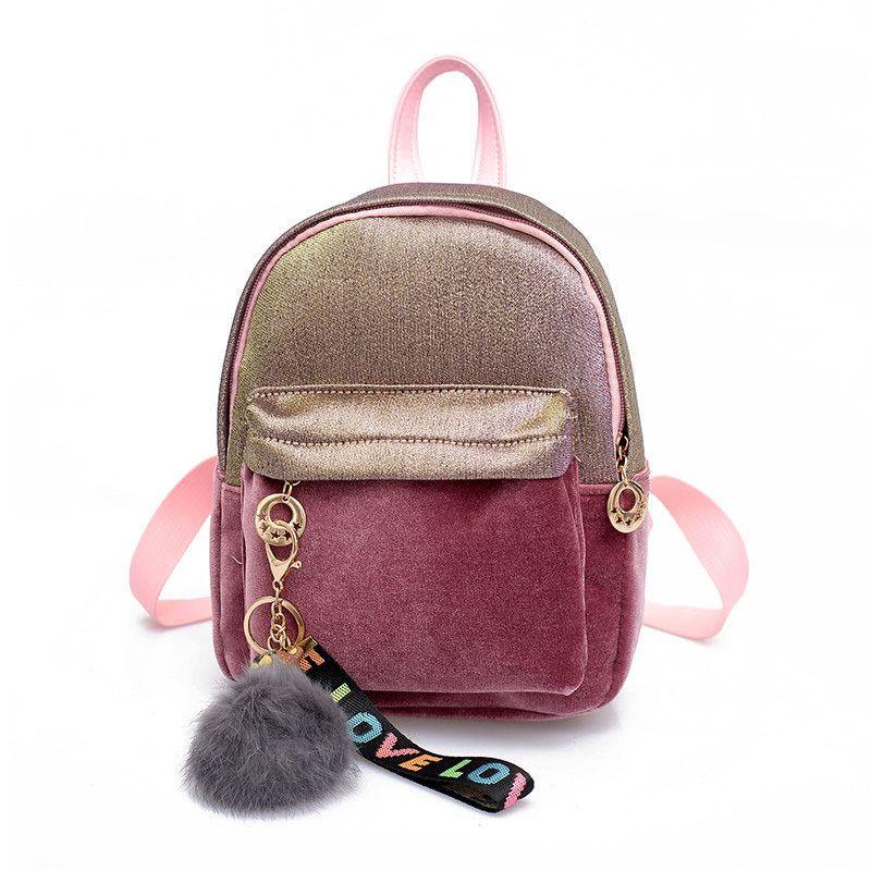 03e1cb8485 Velvet Mini Backpack 2019 New Quality Fashion Women Backpack Cute Backpack  For Teen Kids Mini Back Pack Girl School Backpacks Swiss Army Backpack Black  ...