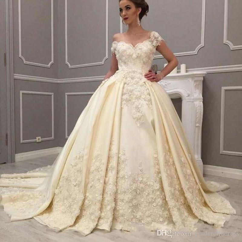 78b86a955575 2019 Arabic Luxury Cream Off Shoulder Ball Gown Wedding Dresses Beaded 3D  Flowers Lace Appliques Low Back Ruched Court Train Bridal Gowns Glitz Ball  Gown ...