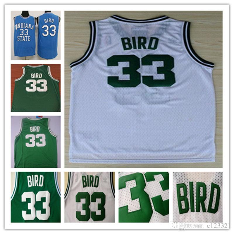 reputable site af00a bab93 NCAA 33 Larry Bird Basketball Jersey, Cheap Mesh Jersey Embroidery Logos  Larry Bird Jersey - White and Green