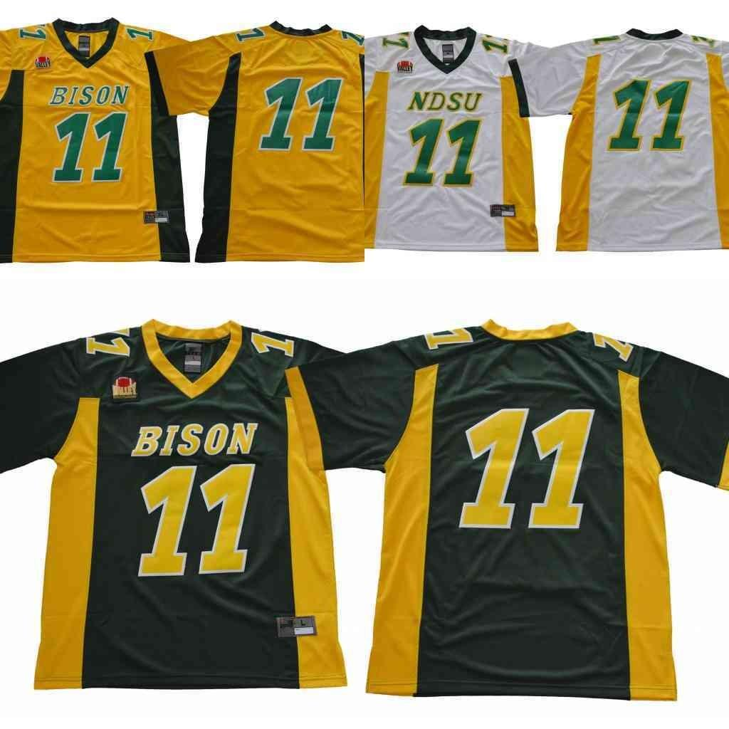 new style b04aa 602f3 2018 NCAA NDSU Bison #11 Carson Wentz Jersey Yellow Gold Green White North  Dakota State College Football Mens Jersey S-3XL