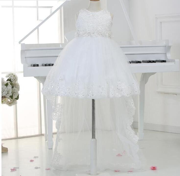 85261f9e5de63 2019 2016 Baby Girl 1 Year Birthday Dress White Beaded Party Dress ...