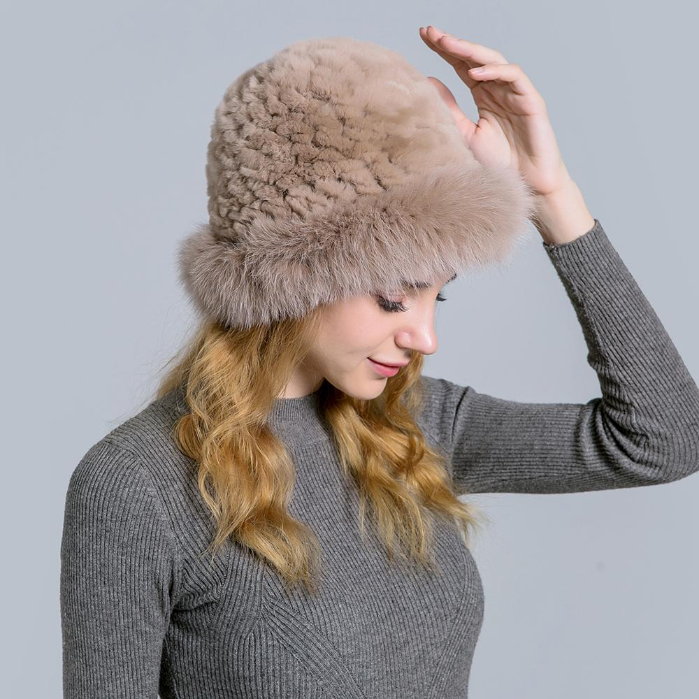 1bb381947e9 Real Fur Beanies Hats Caps For Women Knitted Rabbit Fur Cap Hat With ...