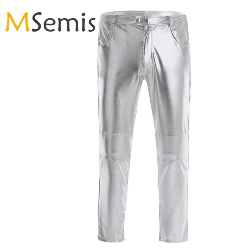 Mens Punk Straight Leg Faux Leather Pants Moto Biker Loose Trousers Long Zsell