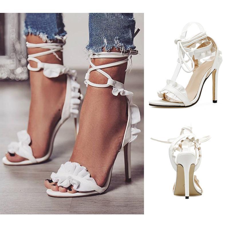 sports shoes ef9b1 adf4c Große größe 35-43 designer hochzeit schuhe sommer mode offene spitze weiß  lace up high heels kleid schuhe frauen sandalen