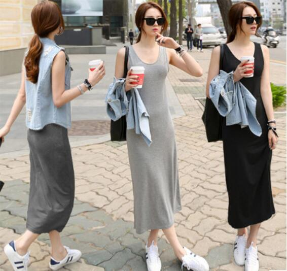 Women's new summer dress summer 2019 Korean version long skirt large size base sundress hot style