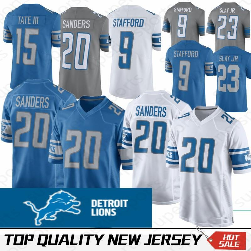 best service 3b360 d9b32 9 Matthew Stafford Detroit Lion Jersey 23 Darius Slay JR 20 Barry Sanders  15 Golden Tate III Jerseys Color Rush 100% Stitched Top quality