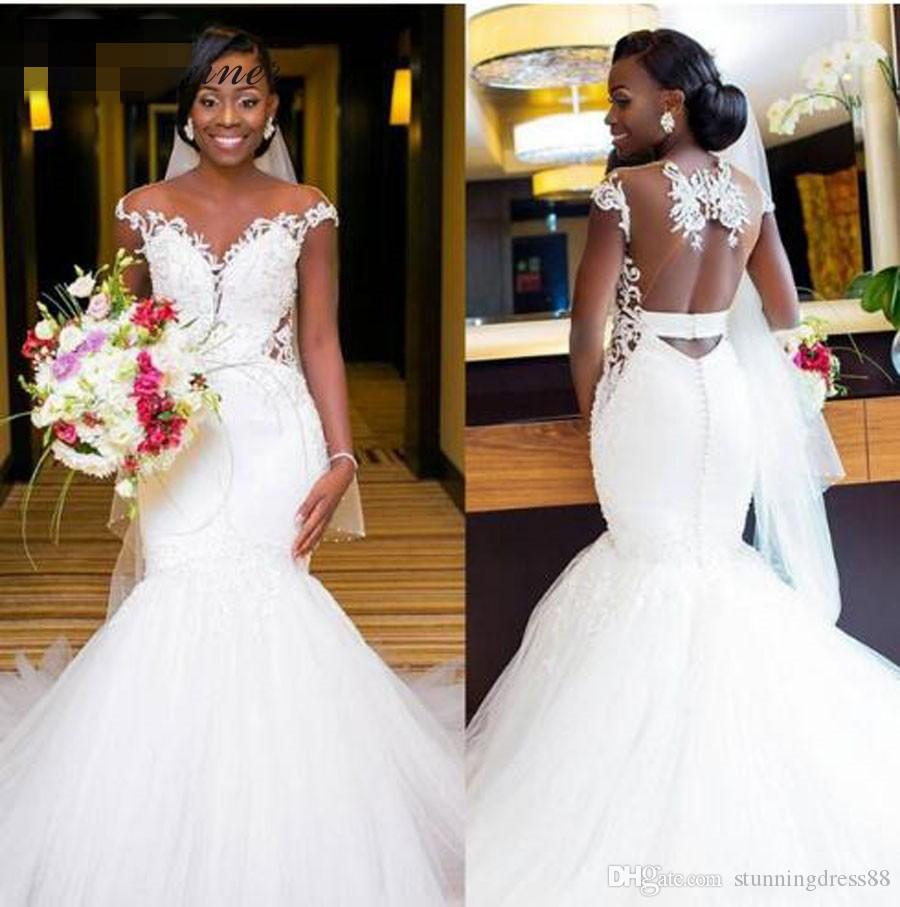 Sexy African 2019 Mermaid Wedding Dresses Keyhole Back Lace Cap