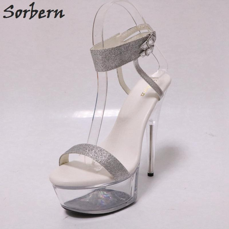 9d7fa2e6d3ba Wholesale Gold Glitter Slingback Sandals Night Club Pole Dance Sandals  Transparent High Heels Clear Platform Shoes Women Summer Platform Heels  Black Sandals ...
