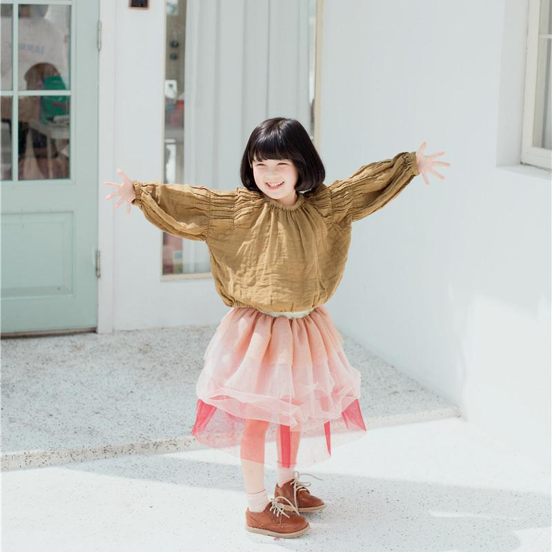 f7df10629c 2019 Girls New Casual Shirts Kids Spring Summer Cotton Linen Shirt Baby O  Neck Long Sleeve Solid Yellow Ruffle Clothes Children 1 7T From Usefully19