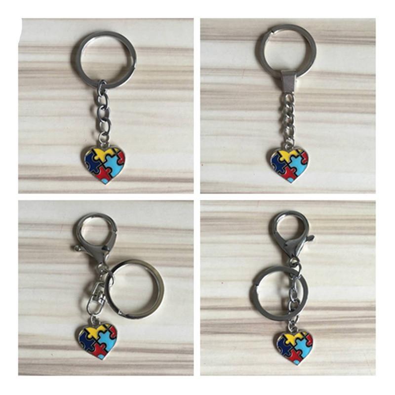 78ce240a9 Heart Colorful Enamel Autism Awareness Jigsaw Puzzle Piece Charm Key ...