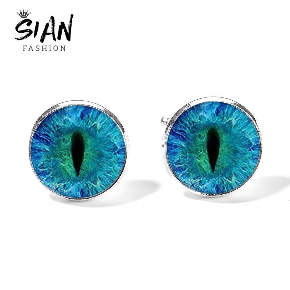 dede03fe8f90 SIAN Steampunk Blue Dragon Eye Cufflinks Vivid Eyes Handmade Glass ...