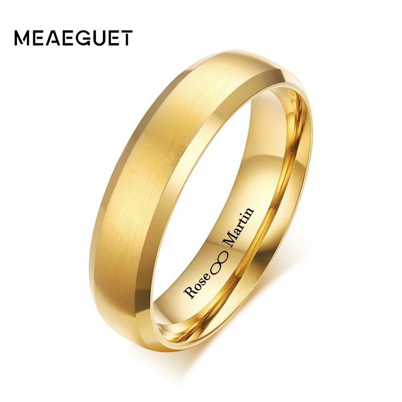 Custom Mens Wedding Bands.6mm Personalized Mens Wedding Band Ring Bands Unique Brushed Beveled Edge Custom Name Inifited Love Women Man Jewelry