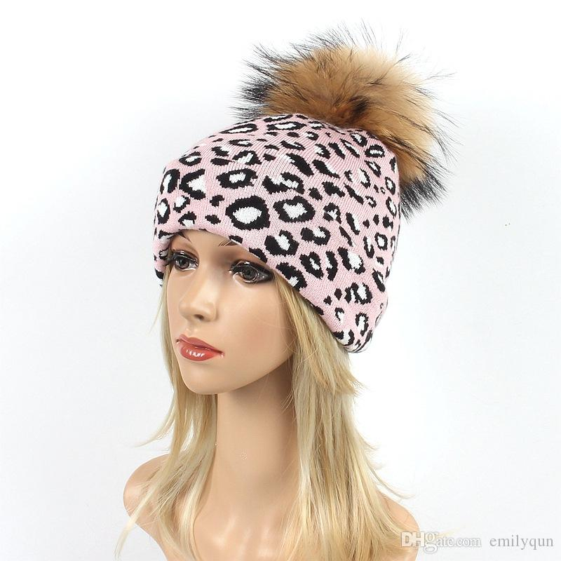 a64b0ffcc960c4 Women Winter Hats Beanie Leopard Knitted Caps Skull Warm Casual Hat Real  Raccoon Fur Pom Pom Ball Hats Soft Female Beanies Snow Caps Beanie Caps  Slouchy ...