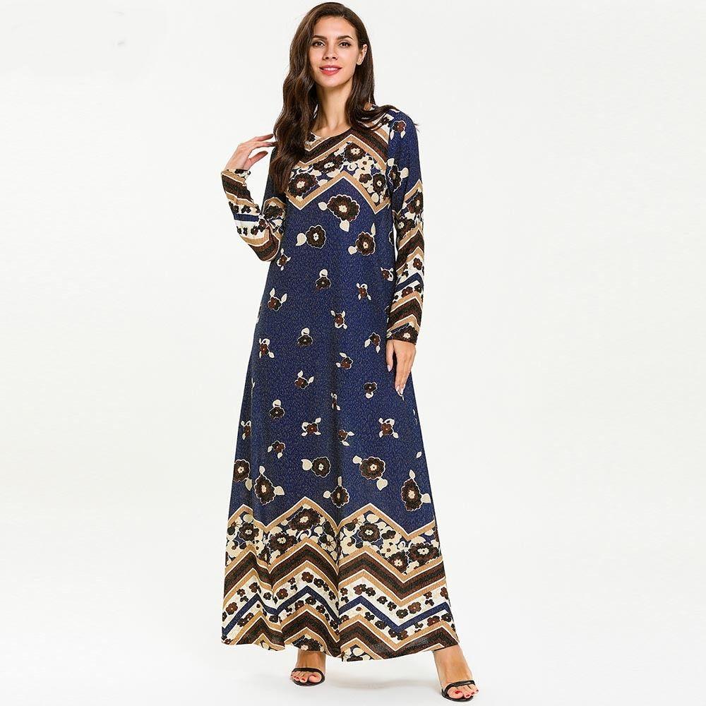 89aec3bba3 2019 7706 Ramadan Muslim Maxi Dress Women Abaya Kimono Dubai Turkey Kaftan  Turkish Print Plus Size Islamic Clothing Bangladesh Blue Robe From  Dujotree